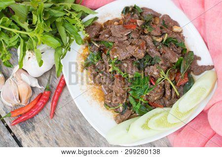 Thai Spicy Food Basil Beef Fried (krapao Neao)