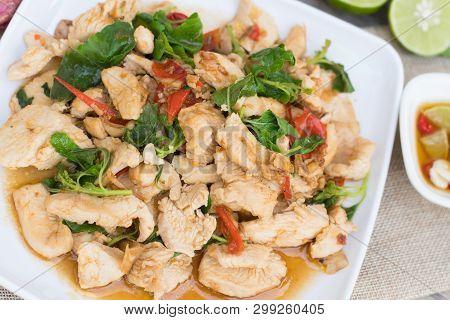 Stir Fried Chicken With Basil. Thai Food