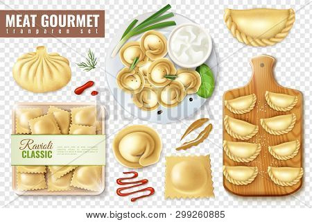 Set Of Realistic Meat Gourmet Food On Transparent Background With Isolated Images Of Dumplings And R