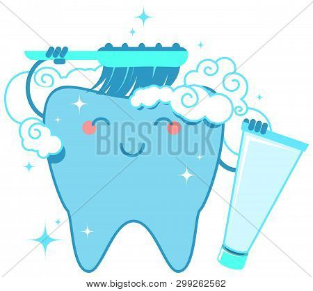 Healthy Tooth Brushes Itself With Toothbrush And Toothpaste