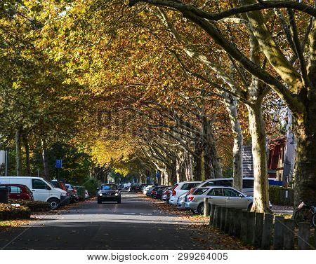 Lucerne, Switzerland - Oct 23, 2018. Autumn Road In Lucerne, Switzerland. Lucerne Is A Beautiful Sma