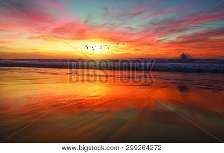 View Of Sky And Shoreline During Golden Hour