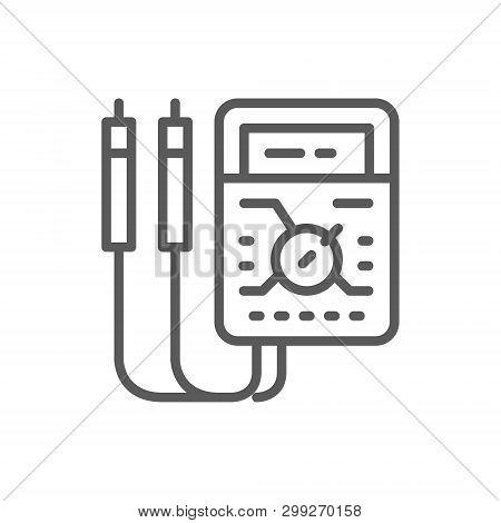 Ammeter, Digital Multimeter, Electrical Tool, Voltmeter Line Icon.