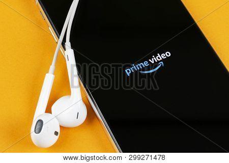 Helsinki, Finland, May 4, 2019: Amazon Prime Video Application Icon On Apple Iphone X Screen Close-u