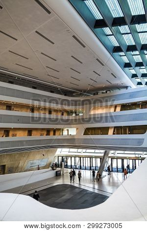Vienna, Austria. 2.03.2019. Library Of The Economic University. Modern Building Inside. With Slanted