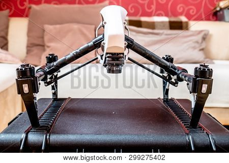 Remote Control Fly Drone Unit Standing On Hardcase