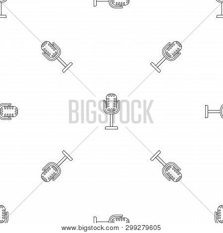 Studio Microphone Pattern Seamless Vector Repeat Geometric For Any Web Design