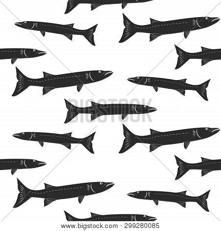 Seamless Pattern With Barracuda Fish. Vector Background.
