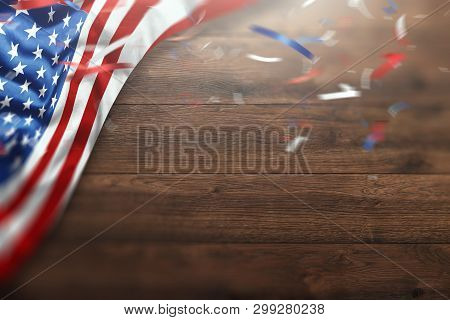 Creative Background, Wooden Background With American Flag, Usa Independence Day, American Flag. Inde