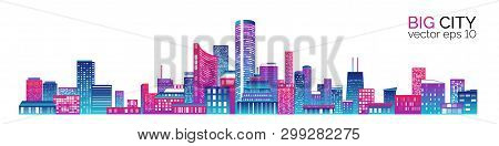 Horizontal City Scape With Colorful Various Buildings With Little Windows On  White Backgrounds. Cit