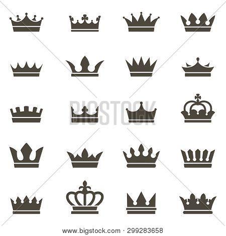 Crown Icons. Queen King Crowns Luxury Royal Crowning Princess Tiara Heraldic Winner Award Jewel Roya