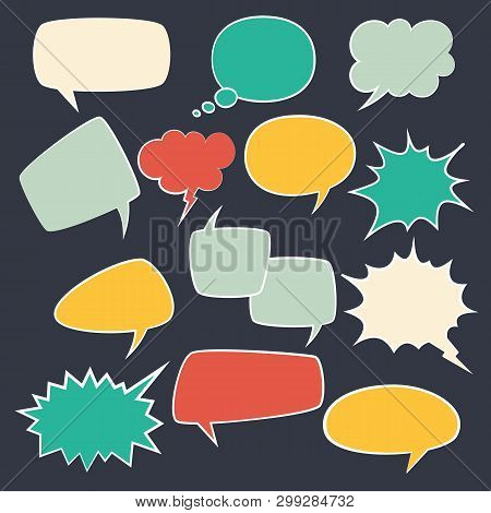 Speech Frames. Speak Kids Bubble Set With Speaking Vintage Talk Comic Clouds Bubbly Oval For Chat Te