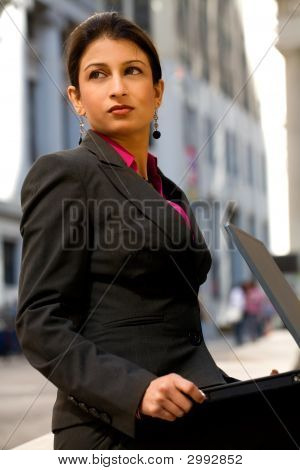 Determined Indian Businesswoman With Laptop