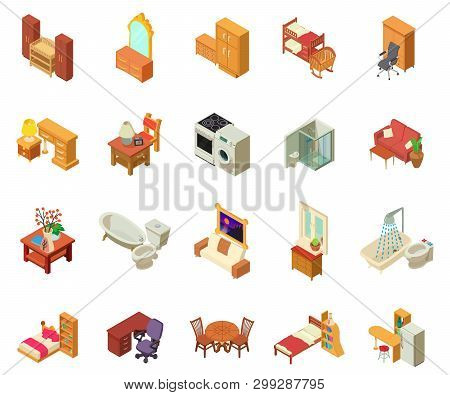 Apartment Icons Set. Isometric Set Of 20 Apartment Vector Icons For Web Isolated On White Background