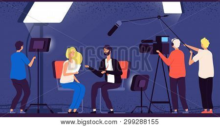 Studio Interview. Host Journalist Tv Broadcasting Camera Professional Crew Cameraman Television Inte
