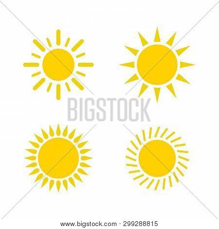 Sun Icon Set. Sun Collection Logo Icon Vector. Sun Star Collection, Sun Icon Logo. Sun Icon Color. S