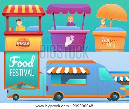 Food Festival Banner Set. Cartoon Illustration Of Food Festival Vector Banner Set For Web Design