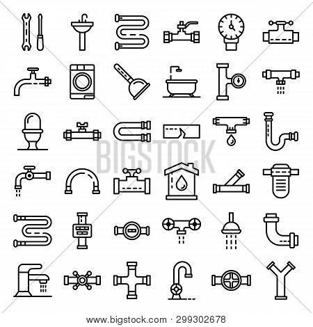 Plumbing Icons Set. Outline Set Of Plumbing Vector Icons For Web Design Isolated On White Background