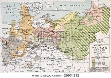 Prussia historical development map. By Paul Vidal de Lablache, Atlas Classique, Librerie Colin, Paris, 1894 poster