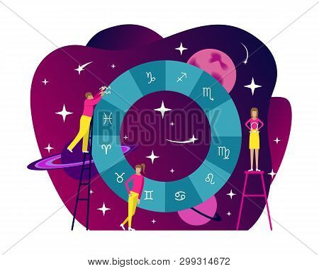 Small People Flat Astrology Illustration. Natal Chart With Gradient Background. Horoscope. Flat Vect