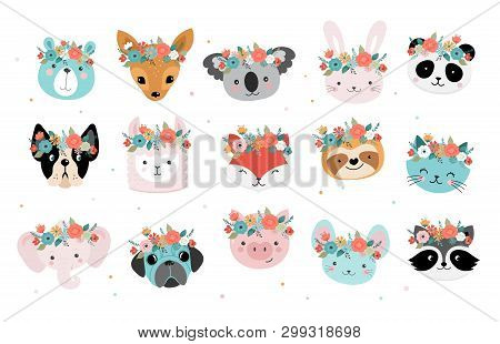 Cute Foxes Heads With Flower Crown, Vector Seamless Pattern Design For Nursery, Poster, Birthday Gre