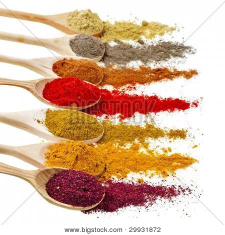Assortment of powder spices on spoons isolated on a white background