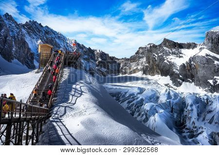 Lijiang, Yunnan, China - December 04, 2016: A Stunning View Of The Mountain Is Always Covered With S