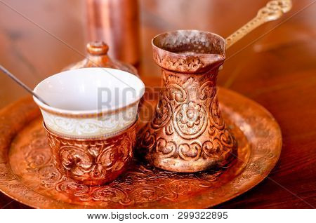 Coffee Served In The Traditional Bosnian Coffee Service. A Complete Bosnian Coffee Set Is Called A K