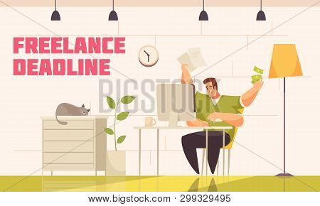 Desperate Freelancer Meeting Tough Deadline Behind Computer Home With Cat Coffee Extra Hands Flat Co