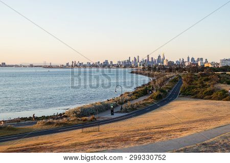 View Of The Melbourne Skyline From Point Ormond In The Inner Eastern Bayside Suburb Of Elwood