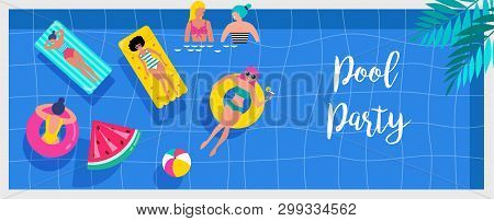 Pool Party Invitation, Background And Banner With Miniature People Swimming And Having Fun On The Po