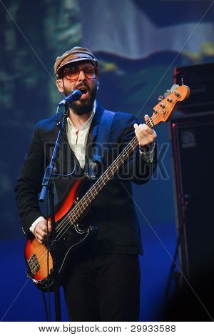 Orlando, Florida - January 15: Tim Nordwind Vocals And Bass Guitar Player Of Rock Band Ok Go Perform
