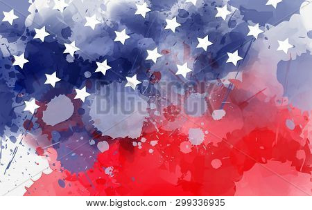 Abstract Background Banner With Watercolor Splashes In Flag Colors For Usa. Template Background For