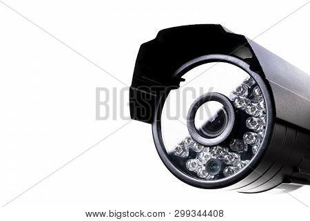 Cctv Security Camera Video Equipment. Surveillance Monitoring. Video Camera Lens Closeup. Macro Shot