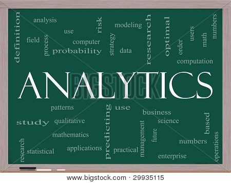 Analytics Word Cloud Concept On A Blackboard