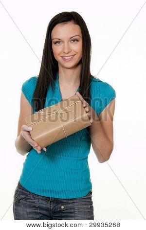woman with a package delivery service. before white hijntergrund