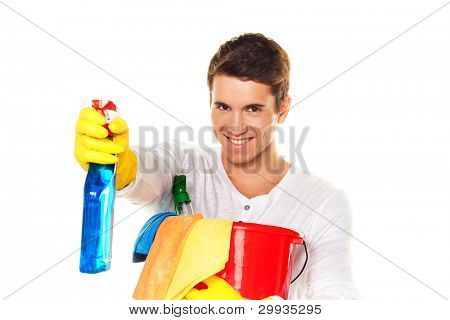 man with cleaning fluid. cleaning the apartment. hausmannbei apartment cleaning in the spring poster