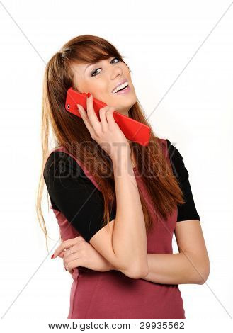 Portrait Of A Cute Young Girl Talking On Mobile Phone