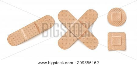 Vector Set Illustrations Of Band Aids. Vector Set Aid Bandages Different Forms.