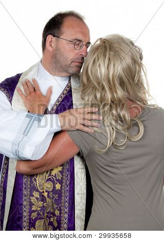 a catholic priest in love with his girlfriend. photo icon celibacy