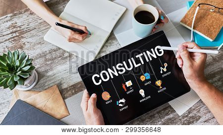 Consulting Diagram On Screen. Business Finance Internet Technology Concept.