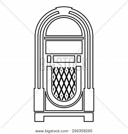 Jukebox Juke Box Automated Retro Music Concept Vintage Playing Device Icon Outline Black Color Vecto