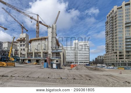 View Of The Turfmarkt Street In Den Haag (nld) At Midday. This Street Is Under Construction And Wher