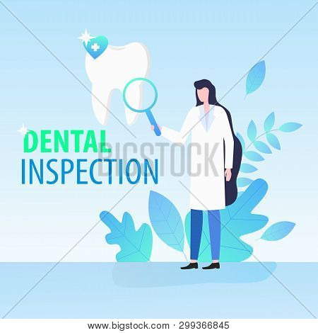 Woman Doctor Dentist With Magnifying Glass Dental Inspection Vector Illustration. Female Stomatology