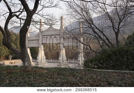 Gate In Park On The Thousand Buddha Mountain In Autumn Evening, Jinan, China 2018-12-14 08:40