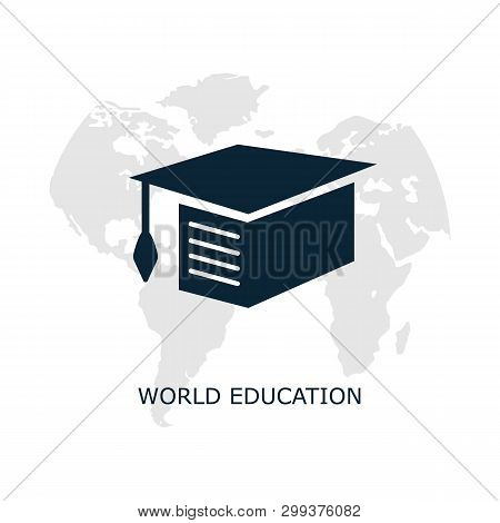 Education Icon On A White Background. Vector Illustration Of World Education. Symbol For Graphic Des