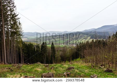 Fantastic Morning Mountain Landscape, Scenery Of High Green Mountains, Blue Sky With Clouds, Beauty