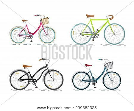 Set Sports Bicycle. Flat Bike Isolated On White Background. Healthy Lifestyle And City Vehicle. Vect
