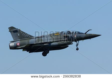 Leeuwarden, Netherlands Apr 11 2016: French Dassault Mirage 2000 Landing At Frisian Flag Exercise