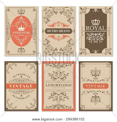 Vintage Cards. Floral Filigree Classic Victorian Ornaments And Frames For Labels Vector Design Templ